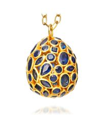 Pippa Small Metallic Precious Large Sapphire Egg Pendant
