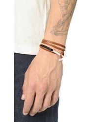 Miansai Brown Modern Anchor Two Tone Leather Wrap Bracelet for men