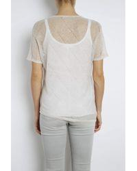 INHABIT | Gray Linen Asymmetric Plaid Tee | Lyst