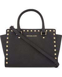 MICHAEL Michael Kors | Selma Medium Studded Leather Satchel, Women's, Black | Lyst
