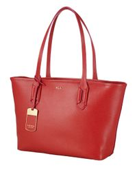 Lauren by Ralph Lauren Red Tate Leather Shopper Tote Bag