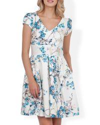 Almari White V Neck Print Full Dress