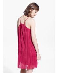Mango Red Pleated Dress