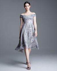 Lela Rose Gray Lace Pearl Printed Silk Dress