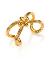 Giles & Brother - Metallic Large X Knot Cuff Bracelet - Lyst