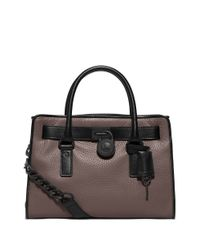 MICHAEL Michael Kors | Black Hamilton Leather Satchel | Lyst
