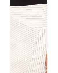 Tibi White Asymmetrical Pinstripe Skirt Ivory
