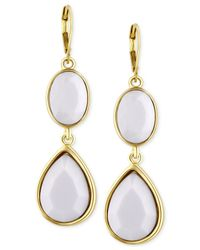 T Tahari | Metallic Gold-tone White Stone Double Drop Earrings | Lyst