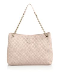 Tory Burch - Pink Marion Quilted Chain Shoulder Bag - Lyst