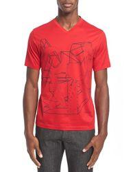 Z Zegna Red Geo Print Graphic V-neck T-shirt for men