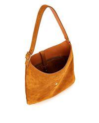 Saint Laurent Brown Monogram Medium Suede Hobo Bag