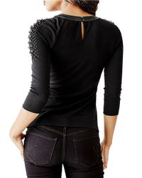 Guess - Black Embellished Faux Leather-trimmed Keyhole Raglan Tee - Lyst