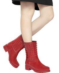 Valentino Red 40mm Rockstud Pvc Rain Boots