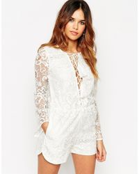 ASOS | White Premium Lace Playsuit With Lattice Tie Front | Lyst