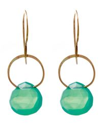Melissa Joy Manning Green Large Gold And Chrysoprase Single Drop Earrings