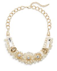 Saks Fifth Avenue - White Jeweled Floral Collar Necklace - Lyst