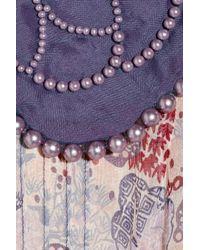 Anna Sui Natural Embellished Printed Silkchiffon Dress