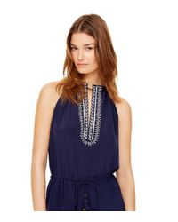 Tory Burch | Blue Embroidered Silk Jumpsuit | Lyst