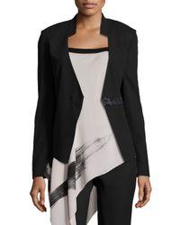 Halston Black Long-sleeve Fitted Blazer