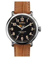Shinola | Brown 'the Runwell' Moon Phase Leather Strap Watch | Lyst