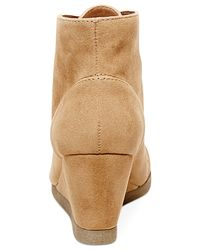 Madden Girl - Brown Domain Lace-up Wedge Booties - Lyst
