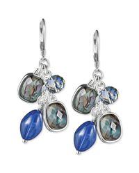 Jones New York - Silvertone Blue Bead Cluster Drop Earrings - Lyst