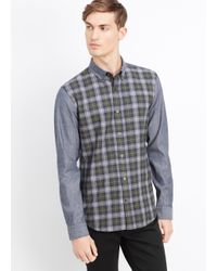 Vince - Blue Melrose Chambray And Plaid Blocked Shirt for Men - Lyst