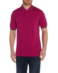 Fred Perry - Purple Twin Tipped Regular Fit Polo Shirt for Men - Lyst