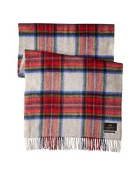 Scotch & Soda | Red Multicolor Check Scarf With Fringes | Lyst