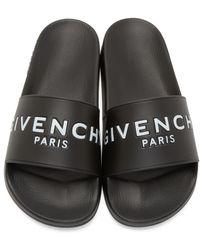 Givenchy Black Printed Slide Sandals for men