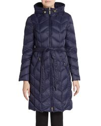 Ellen Tracy | Blue Chevron Quilted Down Puffer Coat | Lyst