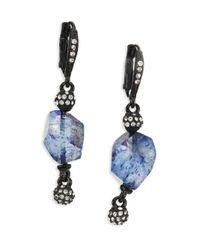Oscar de la Renta | Blue Quartz & Crystal Drop Earrings | Lyst