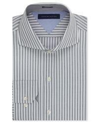 Tommy Hilfiger - Gray Easy Care Slim-fit Grey Bold Stripe Dress Shirt for Men - Lyst