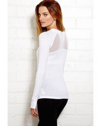 Forever 21 - White Mesh-Trimmed Active Top - Lyst