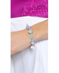 Eddie Borgo Gemstone Cone Bracelet - Green Fluorite/Blue Lace Agate