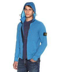 Stone Island | Blue Techno Cotton Knit Hooded Sweater for Men | Lyst