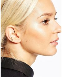 ASOS | Metallic Mixed Metal Shapes Pack Of 2 Ear Cuffs | Lyst