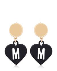 Moschino Metallic Love Pendant Earrings
