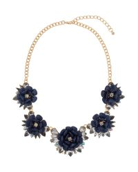 Mikey | Blue Multi Enamel Flower Linked Necklace | Lyst