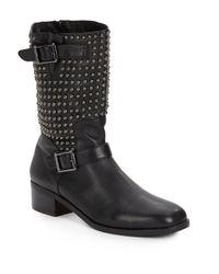 Vince Camuto Signature Black Wallis Studded Leather Boots