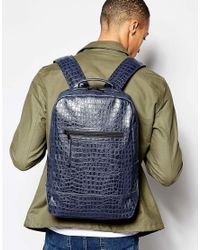 ASOS | Blue Backpack With Crocodile Effect for Men | Lyst