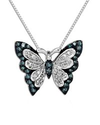 Lord & Taylor Metallic Green Diamond, Diamond And Sterling Silver Butterfly Pendant Necklace
