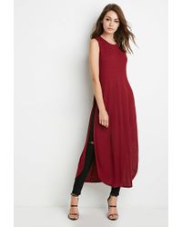 Forever 21 - Red High-slit Ribbed Knit Top - Lyst