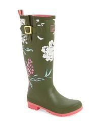 Joules Green 'welly' Print Rain Boot