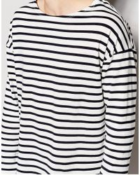 ASOS Blue Oversized Striped Long Sleeve T-shirt With Boat Neck for men