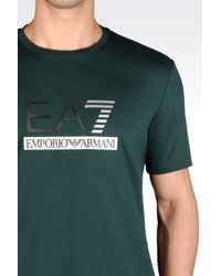 EA7 | Green T-shirt In Stretch Cotton Jersey for Men | Lyst