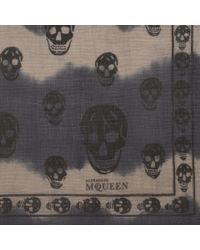 Alexander McQueen Blue Tie Dye Skull Silk Chiffon Scarf