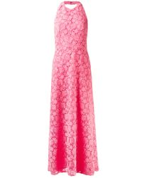 Valentino | Pink Halter Lace Dress with Full Skirt | Lyst