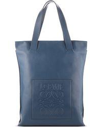 Loewe - Blue Leather Shopper Bag - Lyst