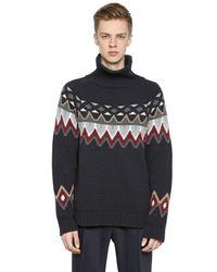 Antonio Marras Blue Turtleneck Wool Jacquard Sweater for men